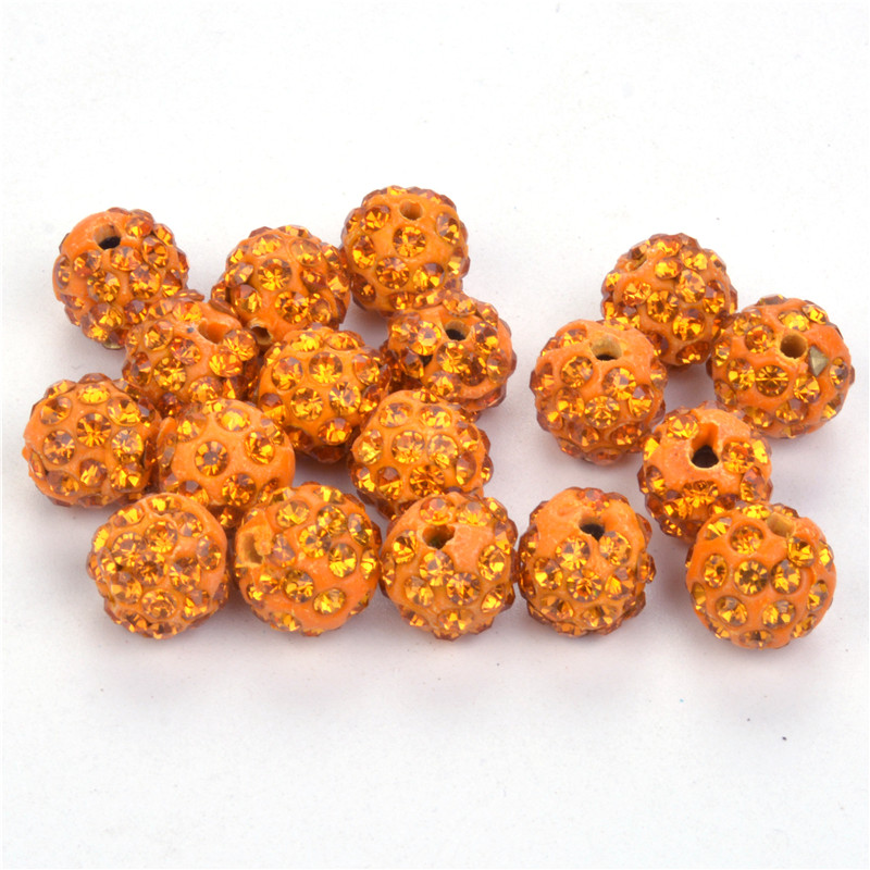 10mm Gold Yellow Color Crystal Clay Pave Rhinestone Shamballa Beads,disco Ball Beads For Bracelet Necklace Making 50pcs/lot Beads