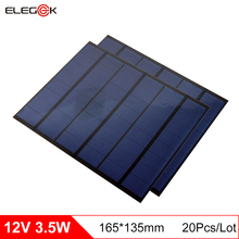 ELEGEEK 20Pcs 3.5W 12V Mini Solar Panel Polycrystalline PET + EVA Laminated Mini Solar Panel Cell for DIY and Test 165*135mm f
