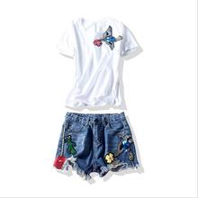 Brand Women's Fashion High-end luxury bird floss sequin T-shirt + embroidery worn cowboy shorts two-piece sets