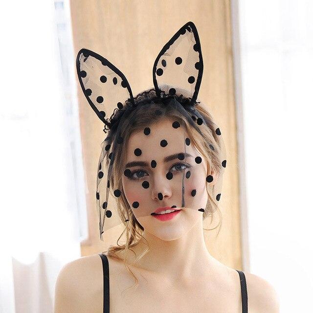 nightclub women hair bands lace rabbit bunny ears veil black eye mask halloween party catwoman headwear - Black Eye Mask Halloween