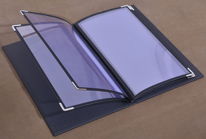 Small Quality PU Leather Cover Menu Folder