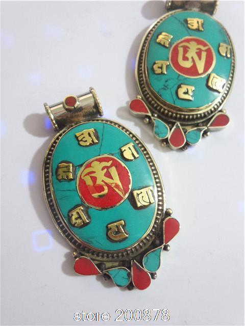TBP618  Tibetan silver inlaid Turquoise Coral big vintage pendants,Tibet Nepal Tribal jewelry