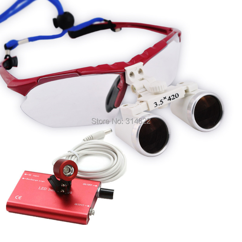 New Style 3.5X 420mm surgical binocular dental loupes with LED Head Light Lamp Freeshipping red ce new 3 5x blue dental surgical binocular loupe 420mm led head light lamp