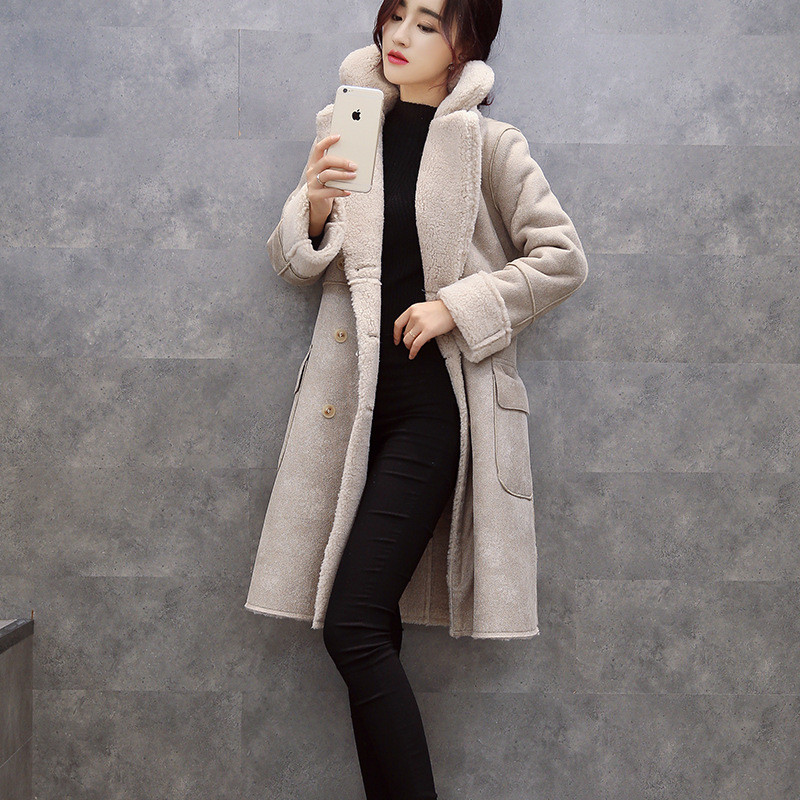 Invierno mujeres gruesa gamuza cachemira capa de la chaqueta larga sección delga