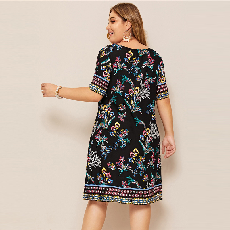 SHEIN Plus Size Tribal And Botanical Print Boho Dress 2019 Women Summer Tunic Short Sleeve Straight Shift Geometric Midi Dresses 1
