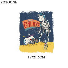 ZOTOONE Cartoon Space Patch Iron On Transfers For Kids Clothing Diy T-shirt Heat Transfer Vinyl Letter Stickers Applique Badge цена