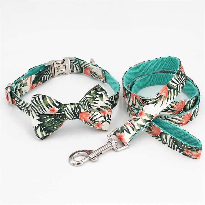 Dog Collar Bow Tie Pretty Tropical Leaves Metal Buckle Big and Small Dog Cat Collar Pet