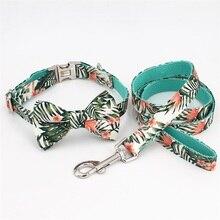 Ошейник для собак галстук-бабочка красивые тропические листья металлическая пряжка большая и маленькая собака и кошка аксессуары для ошейника питомца