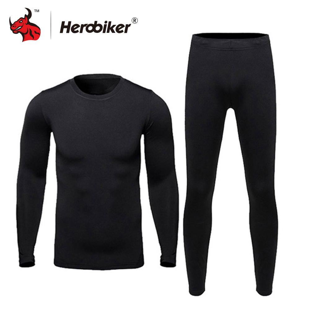 HEROBIKER Men Thermo Underwears Suits Set Motorcycle Skiing Winter Warm Base Layers Tight Long Johns Tops & Pants Set classic color block tribal print suture stripes design u convex pouch long johns pants for men