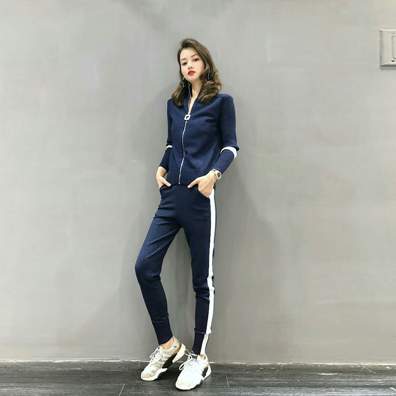 Women sweater suit and setsCasual Knitted Sweaters Pants 2PCS Track Suits Woman Casual Knitted Trousers+Tops Clothing Set