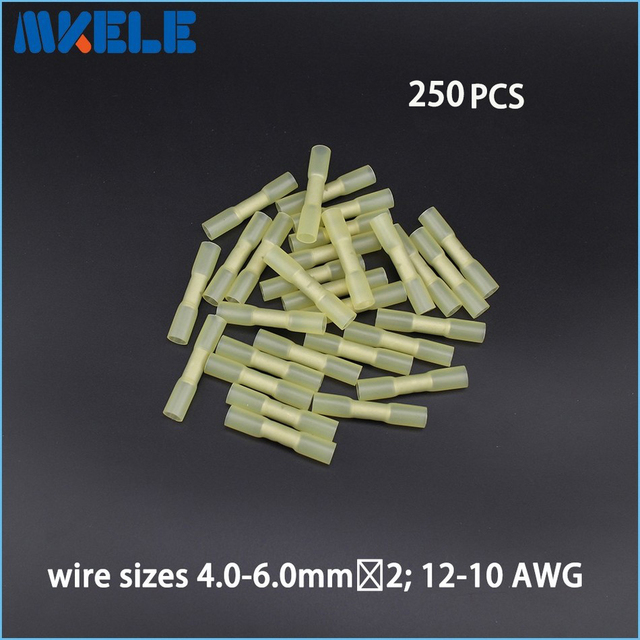 Aliexpress buy 250pcs insulated heat shrink butt connectors 250pcs insulated heat shrink butt connectors wire electrical crimp terminals 12 10awg kit keyboard keysfo Image collections