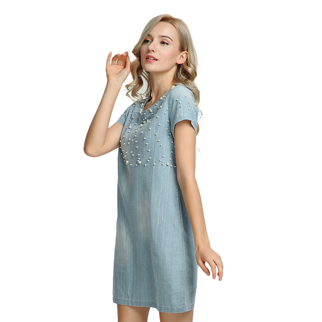 Casual Denim Beaded Tunic Dress