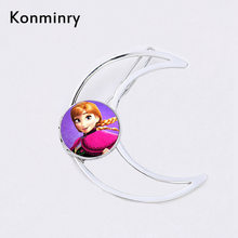 Fashion Moon Silver Gold Color Hairpins Glass Cabochon Princess Anna Queen Hair Clips Girl Women New Jewelry Konminry(China)