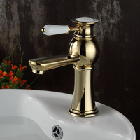 Contemporary gold bathroom faucet basin sink mixer tap with single ceramic handle