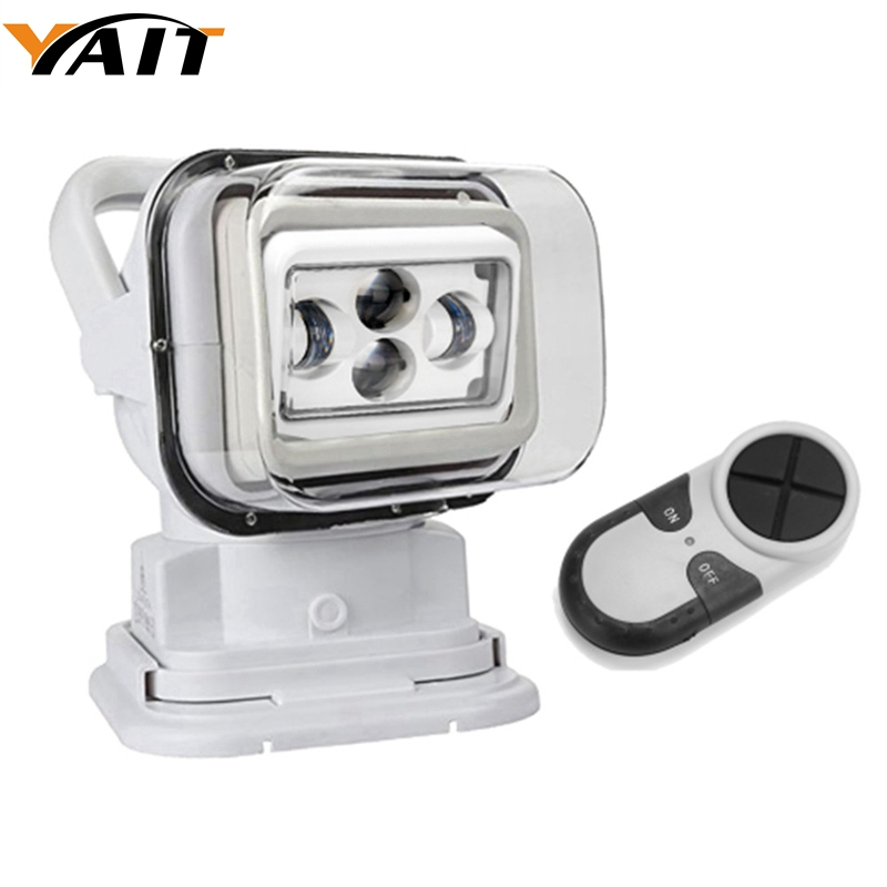 Yait For Offroad Car 12V/24V Boat Marine Led 7Inch 60W Led 4D Spot Remote Control Led Search Light with White/Black Body Housing
