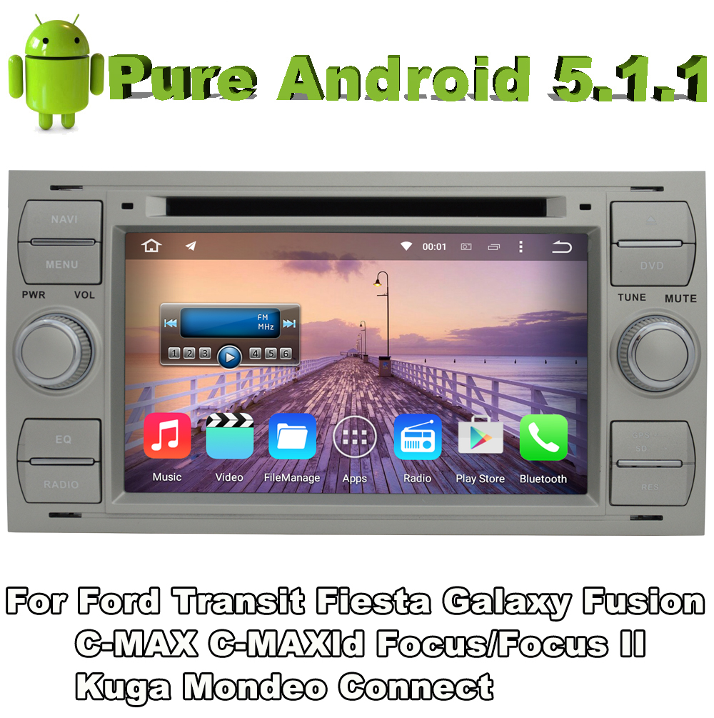2 din android 5 1 quad core car audio dvd silver color for ford galaxy 2000 2009 ford kuga 2008. Black Bedroom Furniture Sets. Home Design Ideas