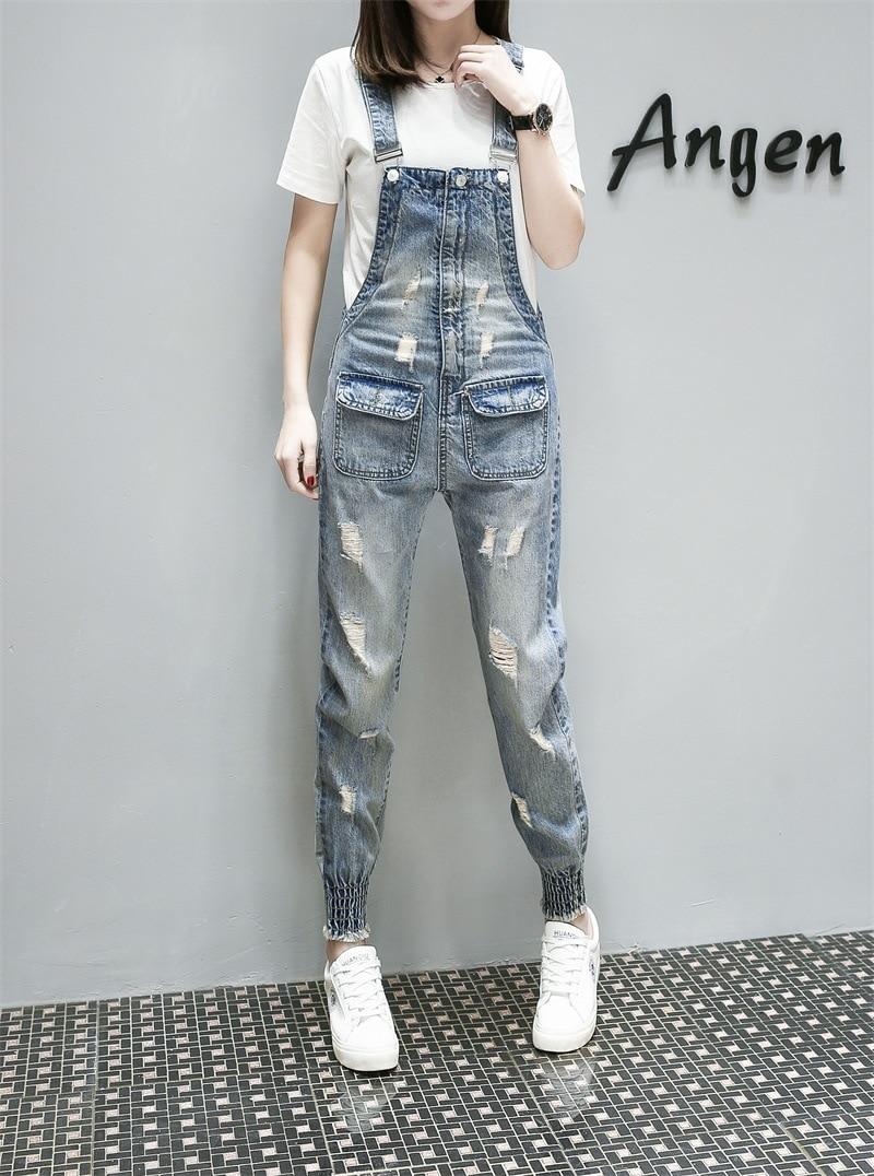 2018 Mujer Denim Pantalones Harem Back Correa Suelta Jeans Azul Casual Bolsillos Moda Europa Cowboy Rompers Verano Sexy dTfdC