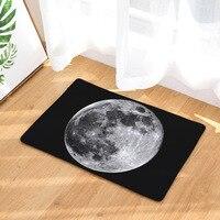 New Design Moon Printed Door Mats Dropship Heat Transfer Printed Foot Pad Black 40 60cm Flannel