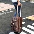 Мужчина сумка тележка дорожная сумка, вещевой мешок мужской большая емкость женский багажа, винтаж кожа pu тележки для багажа bag