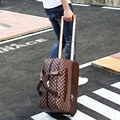 Male handbag trolley travel bag,duffel bag male large capacity female  luggage,vintage pu leather trolley luggage bag