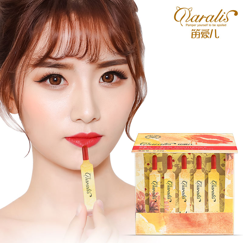 Daralis Matches Lipstick 5pcs/lot Orange Color Matte Makeup Chapstick for Women Waterproof Long Lasting Moisture Nourishing Lips