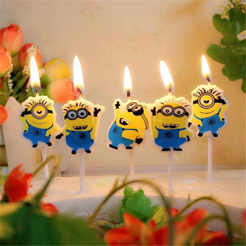 5pcs/pack Candle Design Lovely Minion Cartoon Cute For Boy And Girl Happy Birthday Baby Shower Party Cartoon Candle Supply Event & Party Party Spray Supplies