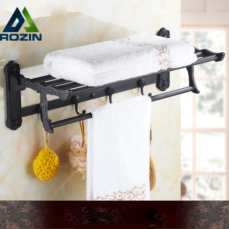 High Quality Oil Rubbed Bronze Wall Mounted Bathroom Shelves Convenience Folding Bath Towel Holder With Hooks oil rubbed bronze square toilet paper holder wall mounted paper basket holder