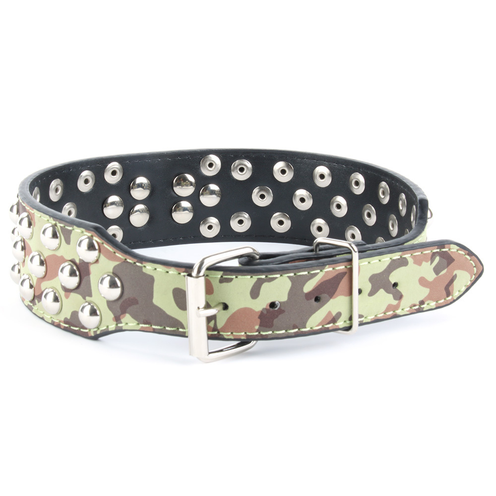 Faux Leather Spiked Rivets Dog Cat Collar Large Pet Pitbull Bully Terrier S M L Dog Cat Collar