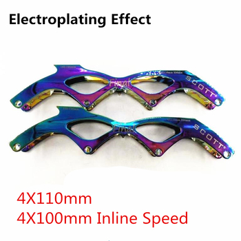 Electroplating Mirror Effect Surface Inline Speed Skates Frame High 7000 Alloy CNC Skating Base for Powerslide Core 4 Virus