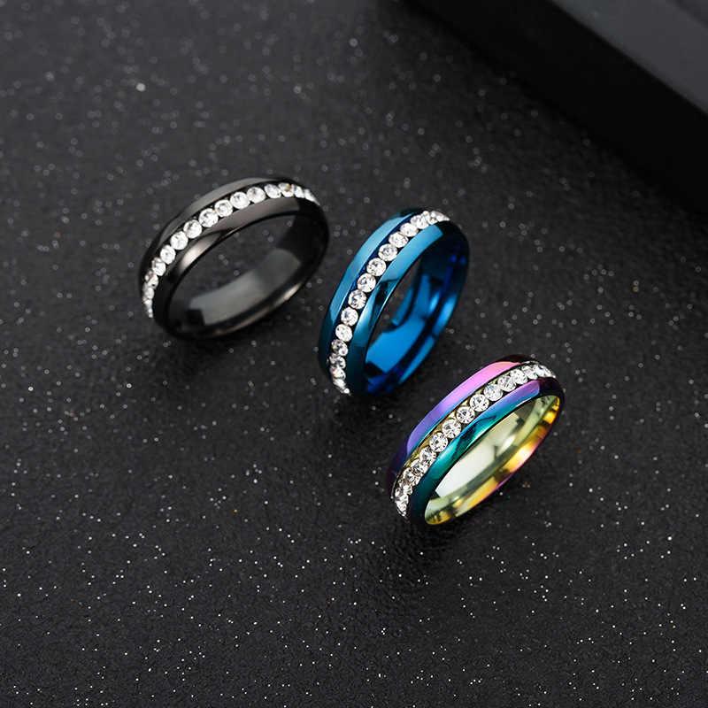 ใหม่แฟชั่นแถวเดียวแหวนคริสตัลสแตนเลสฝัง Zircon Boutique แหวนผู้ชายและสตรี Universal ขนาดใหญ่ขนาดแหวน