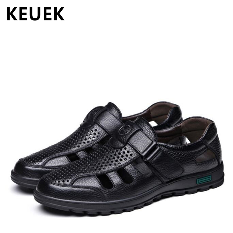 Classics Gladiator Men leather Sandals Casual Breathable Cut Outs Summer Male Shoes Hook & Loop Flats 02A