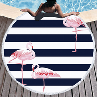 Beach Towel Round Cute Printed Flamingo Large Round Beach Towel with Tassels Thick Soft Bathroom Towels Bath Towels for Adults