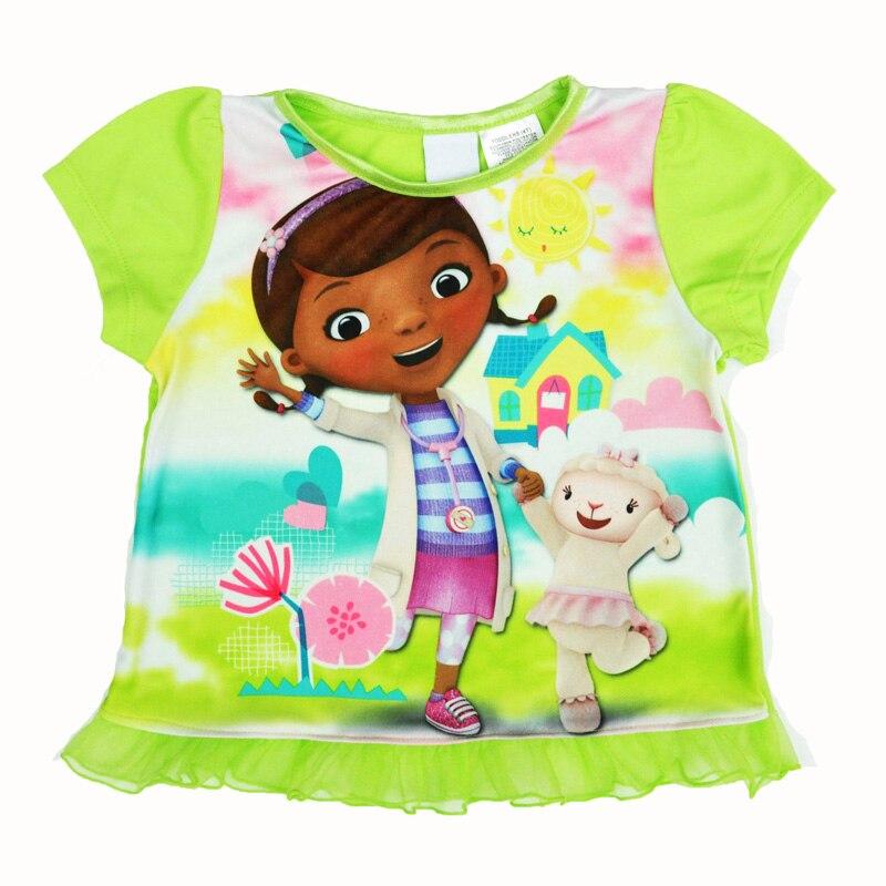 Летние Doc McStuffins девочки; Дети футболка с короткими рукавами с принтом Футболки с героями мультфильмов модное платье принцессы детская одежд... ...