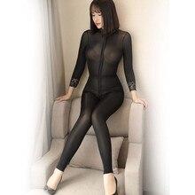 Женское высокоэластичное блестящее Кружевное боди, сексуальное двухголовое боди на молнии с открытой промежностью, одноцветное боди с длинным кружевным рукавом, боди