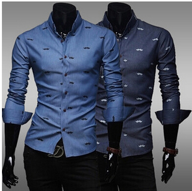free shipping  Printed design on sale of men's shirts selling men's denim shirt