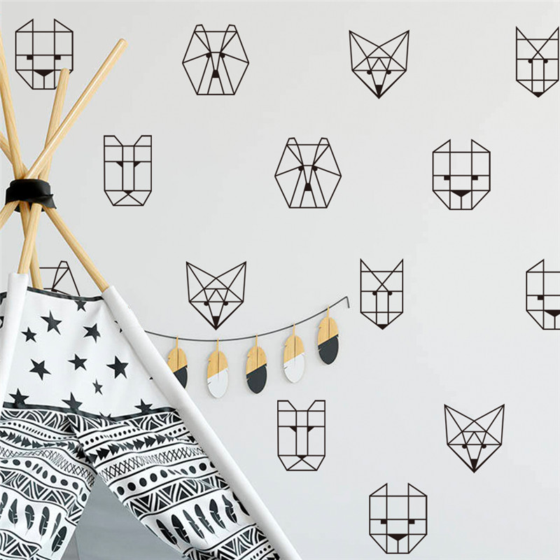 6pcs Geometric Animal Wolf Wall Sticker Removable Decal for Kid Room Baby Decoration Accessories Decor Mural