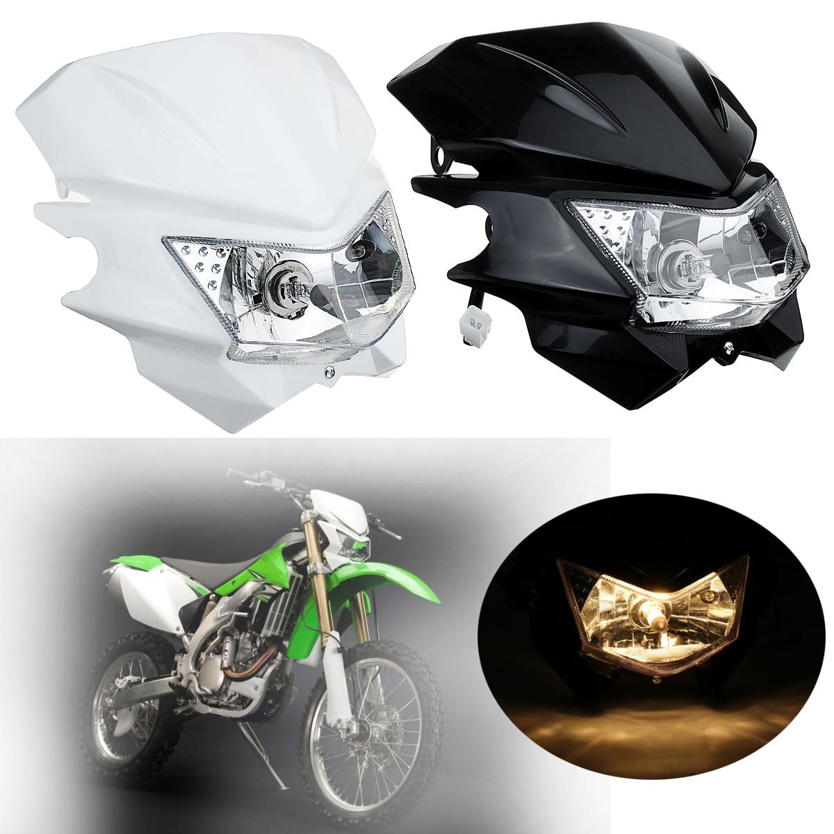 White Dual Sport Motocross Headlight Dirt Bike Headlamp
