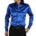 2017 Fashion Men  Men Casual silks satins Shirts Long Sleeve Slim Fit Men Shirts High Quality Designer Mens Dress Shirts