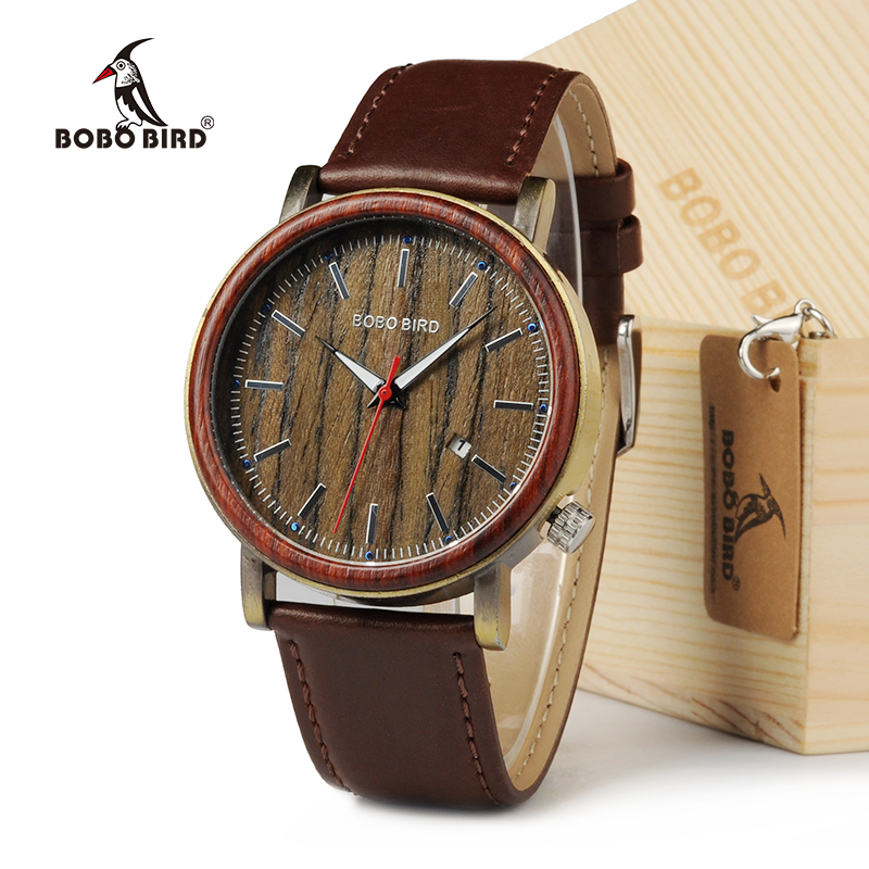 BOBO BIRD Date Display Men Watch Antique Steel Case Wooden Bezel Dress Watch with Soft Leather in Wood Gift Box bobo bird brand new wood sunglasses with wood box polarized for men and women beech wooden sun glasses cool oculos 2017