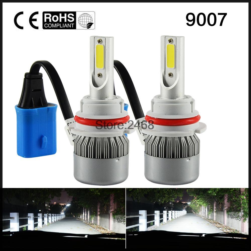 72W 7600LM All In One LED 9007 Headlight Kit Hi/Lo Beam 6000K White 3000K Golden High Power Fog Light