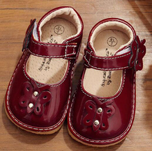 little girls squeaky shoes squeakers 1-3 years kids handmade burgundy navy spring nina zapatos fun baby butterfly