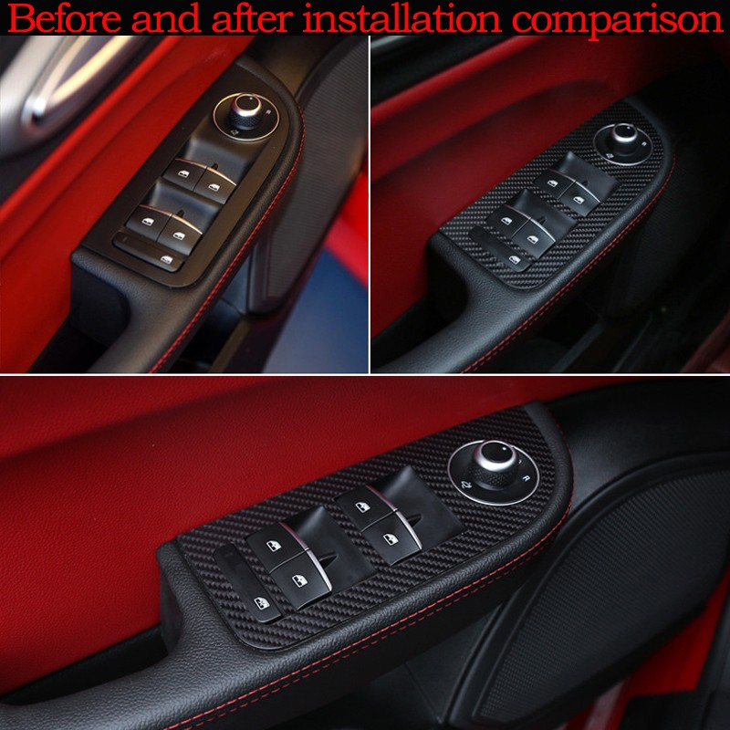 4 шт. Автомобильная дверная ручка панель отделка украшения 5D углеродное волокно наклейка для Alfa romeo Giulia аксессуары для стайлинга автомобилей