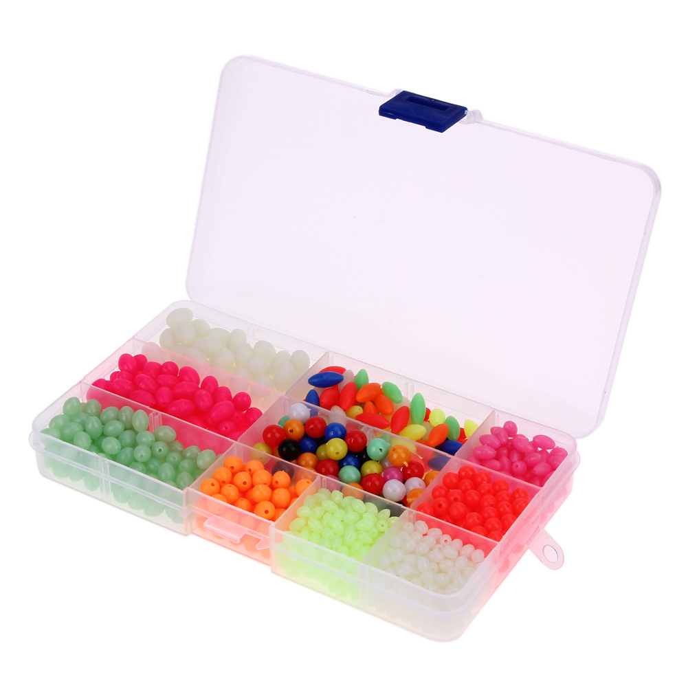 1000pcs Plastic Glow Fishing Beads Round Oval Luminous Sea Fishing Floating Fishing lure Set with fishing tackel Box 160*85*20mm artkal beads 28 color with pegboards accessories box set perler mini beads plastic eva educational toys for children ca28