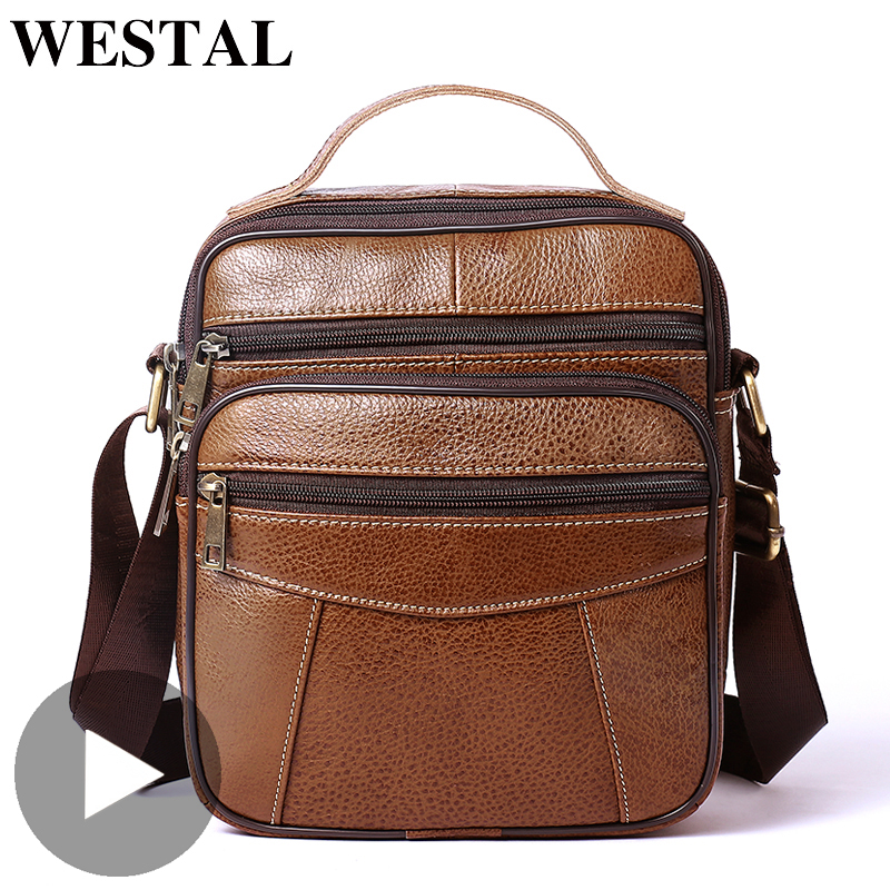 Westal Shoulder Messenger Women Men Bag Genuine Leather Briefcase Office Business Work For Handbag Male Female Retro With Handle