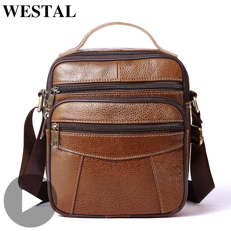 Westal Shoulder Messenger Women Men Bag Genuine Leather Briefcase Office Business Work For Handbag Male Female Retro With Handle