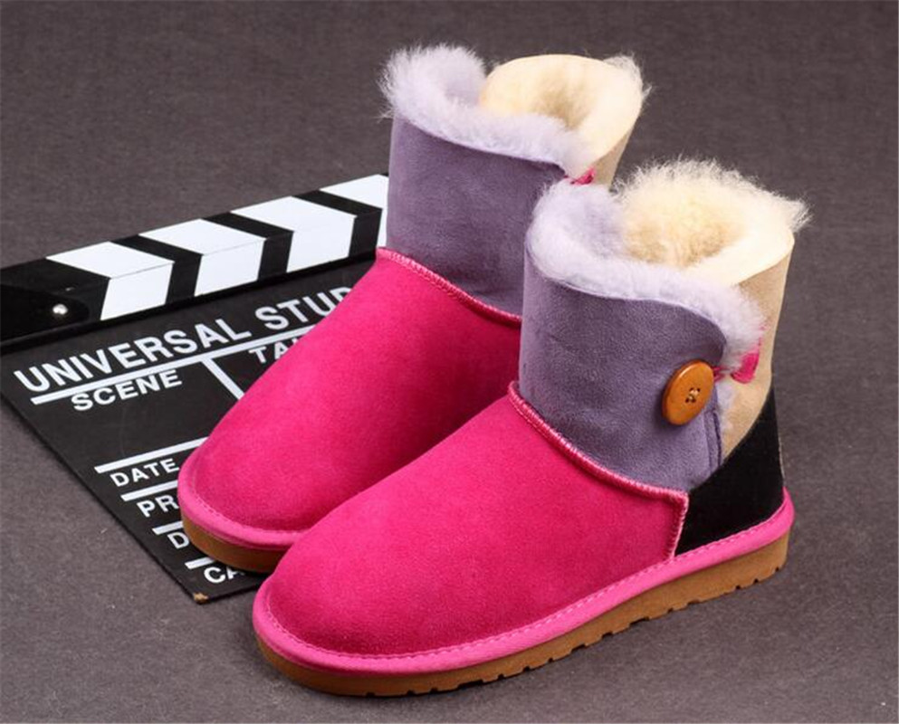 Hot Sale Australia Women Genuine Sheepskin Leather Snow Boots Wool Fur Winter Warm boots female Fight color Grain buckle shoes winter snow boots women australia sheepskin fur constellation short snow boots women genuine leather boots wholesale size 35 39