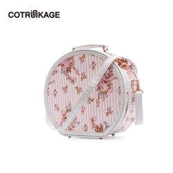 COTRUNKAGE Kleine Runde Hut Box Rosa Blume Tragen Auf Gepäck Tasche Kosmetische Fall mit Gurt