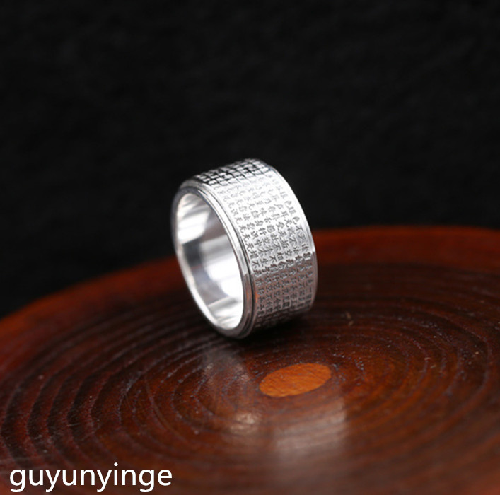 цена KJJEAXCMY Boutique jewelry S999 pure silver ring, silver ring, time to run, man's index finger ring finger.