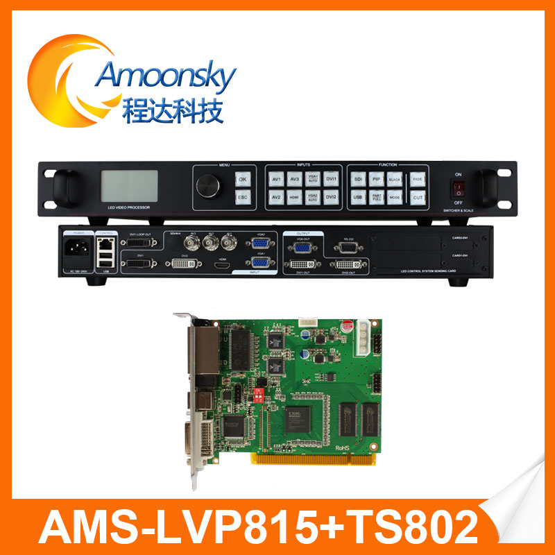 Video Processor With Linsn Ts802d Sending Card Stage Rental LED Screen Display LVP815 High Definition LED Video Processor