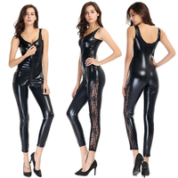 Erotic Sleeveless Lace Side Bodysuit Wet Look Faux Leather Catsuit Women Black Latex Jumpsuit Open Crotch